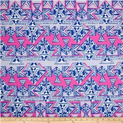 Cotton Lawn Geo Stripe Royal/Hot Pink