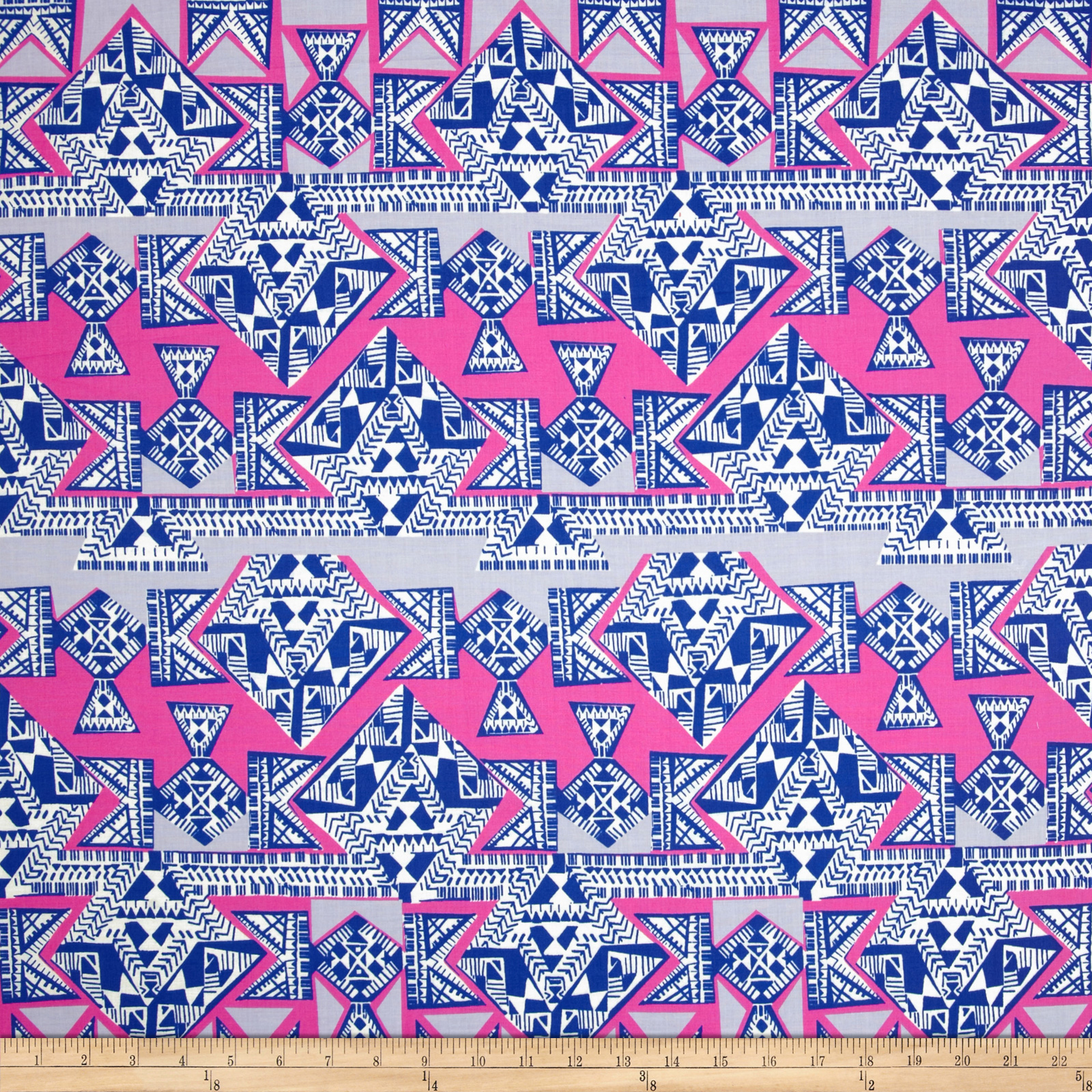 Cotton Lawn Geo Stripe Royal/Hot Pink Fabric