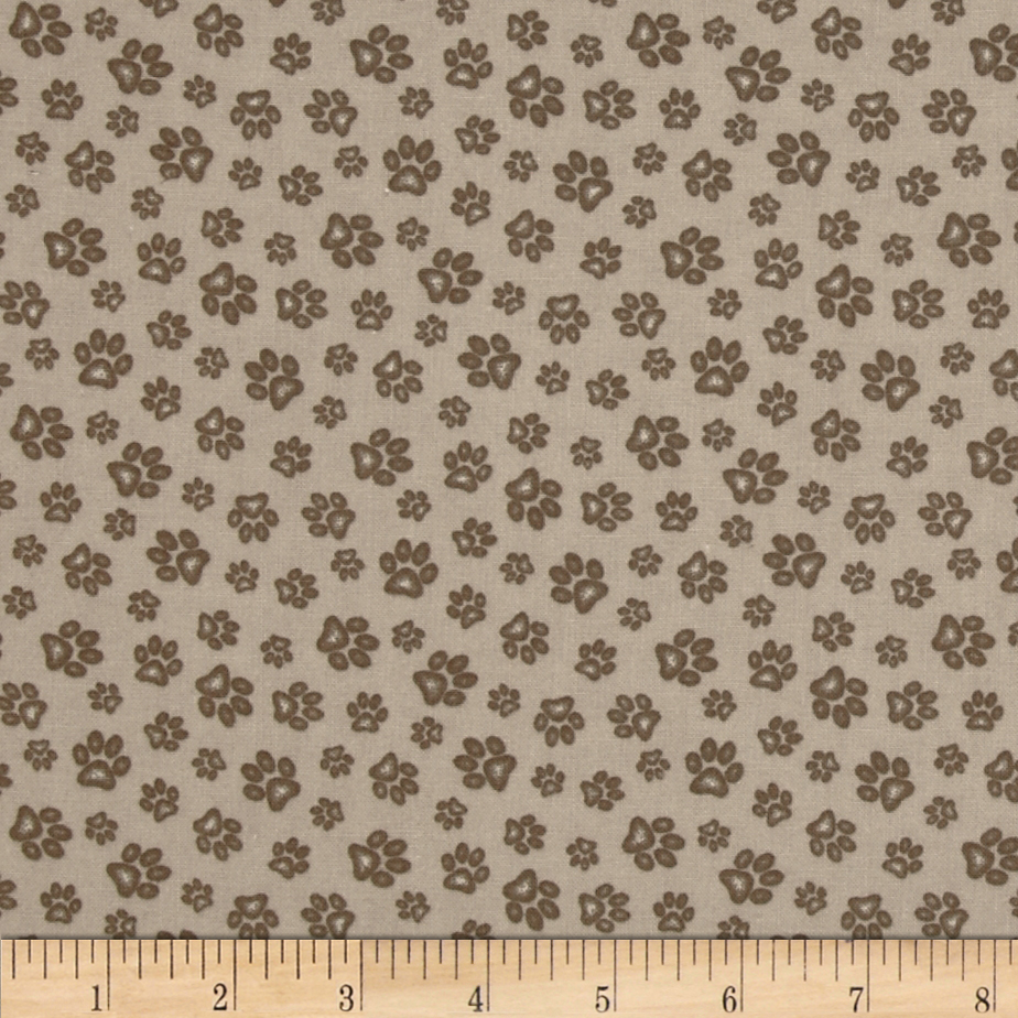 Sand Scribbles Paws Allover Sand Fabric