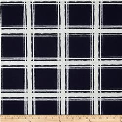 Liverpool Double Knit Textured Plaid Navy