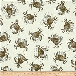 She Sews Sea Shells Crab Toss Ecru/Gray