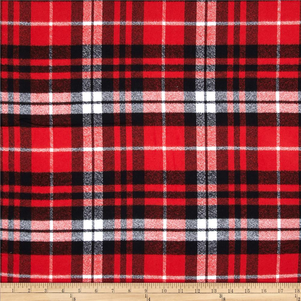 Kaufman Mammoth Flannel Plaid Scarlet Fabric By The Yard