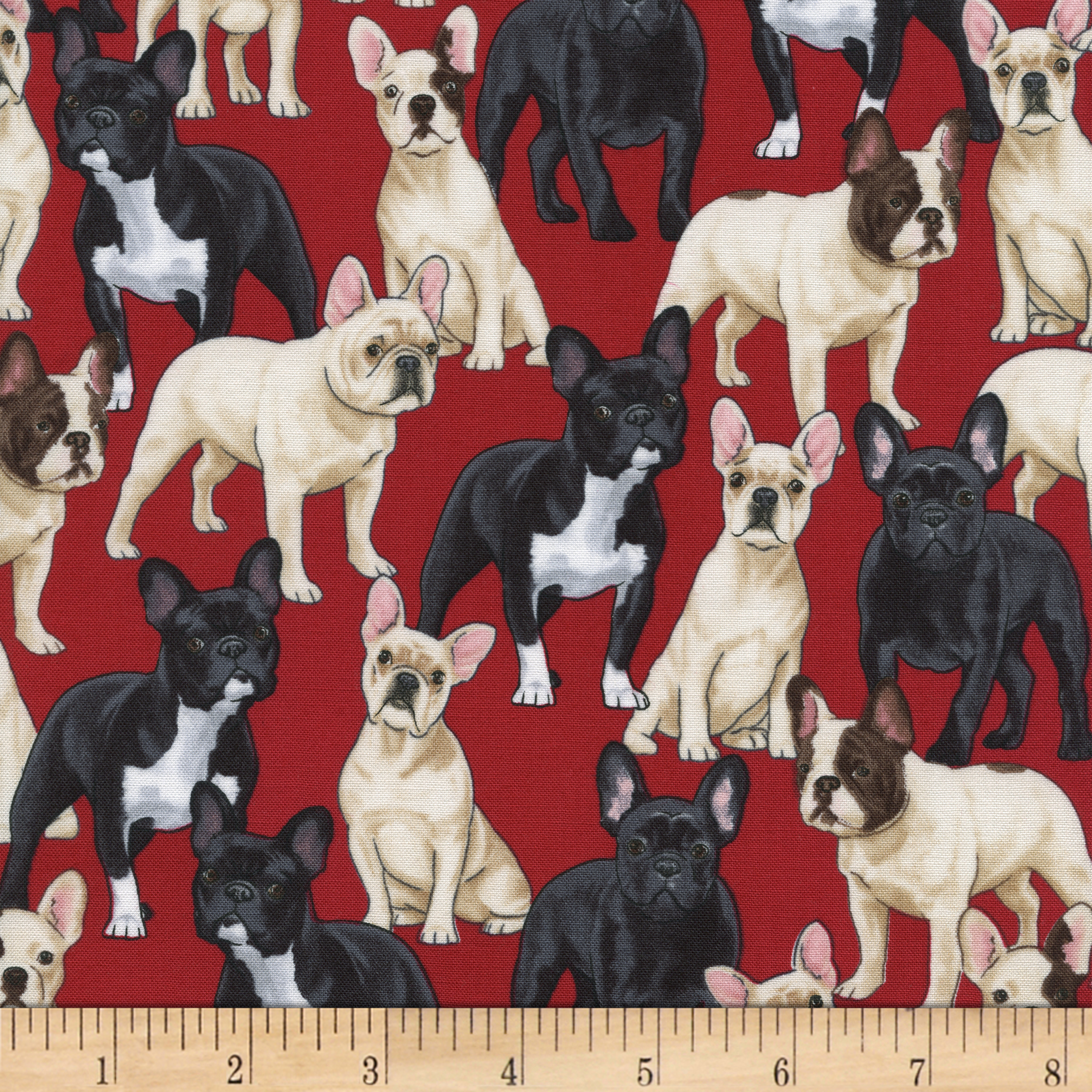 Timeless Treasures Puppies Red Fabric