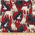 Timeless Treasures Puppies Red