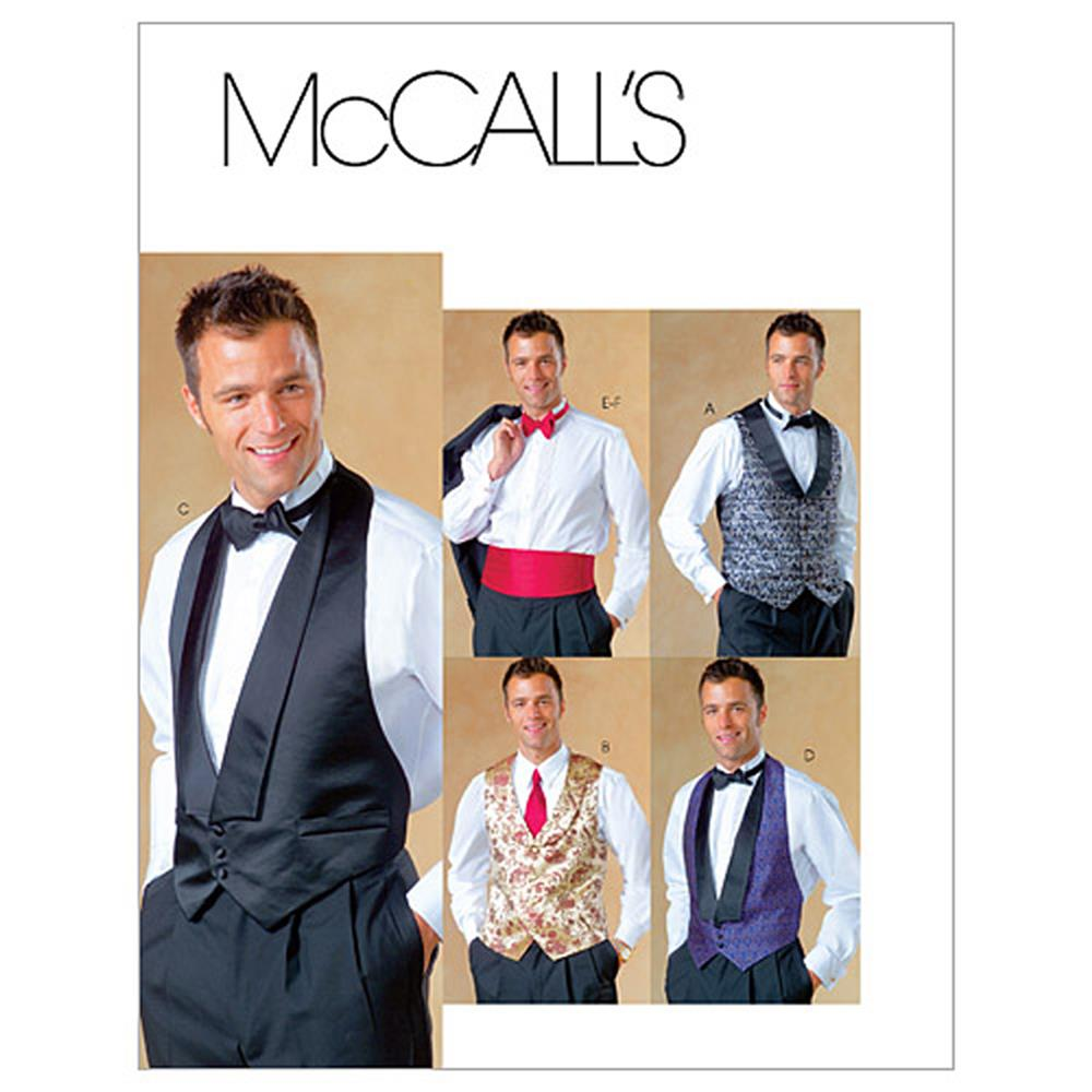 McCall's Men's Lined Vests, Bow Tie and Cummerbund Pattern M4321 Size 0Y0