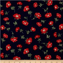 Timeless Treasures Posey Tossed Posies Navy