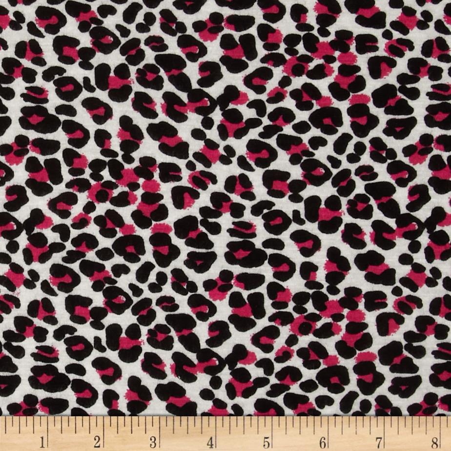 Rayon Jersey Knit Leopard Print Hot Pink/Cream/Black