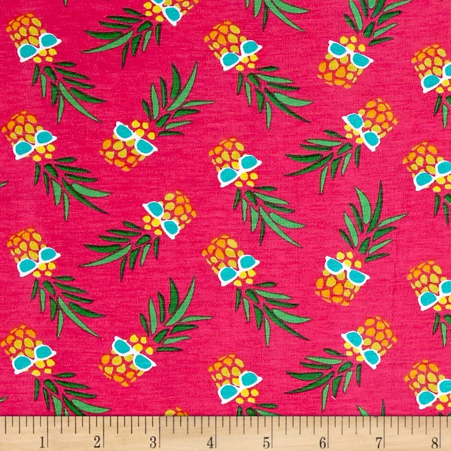 Stretch Jersey Knit Pineapples with Glasses Pink Fabric