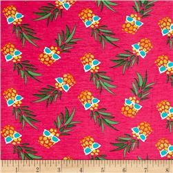 Stretch Jersey Knit Pineapples with Glasses Pink