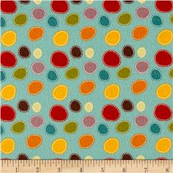 Riley Blake Giraffe Crossing 2 Flannel Dots Teal