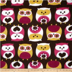 Fleece Owls Brown Fabric