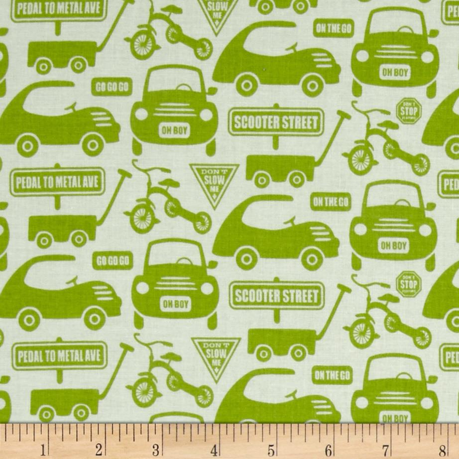 Riley Blake Cruiser Blvd Cruiser Cars Green