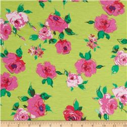 Stretch Designer Knit Floral Lime/Pink
