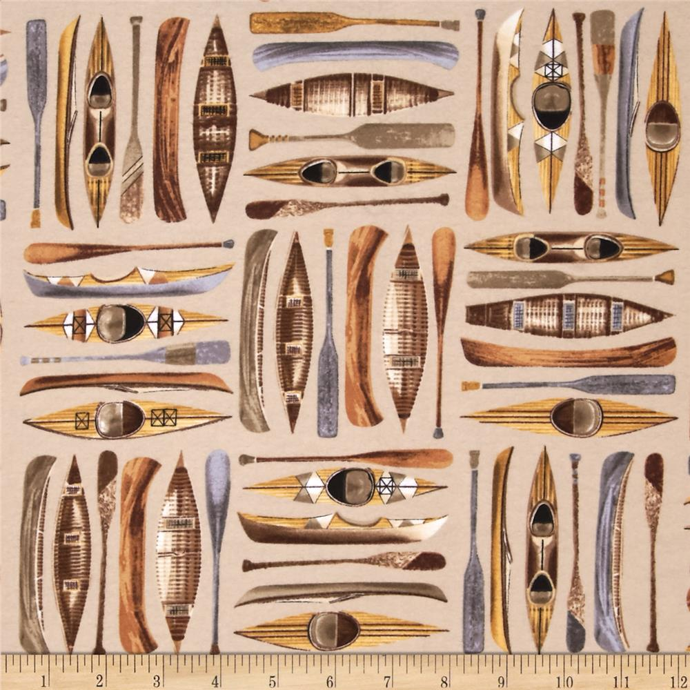 Kanvas The Great North Fishing Flannel Up Stream Khaki Fabric