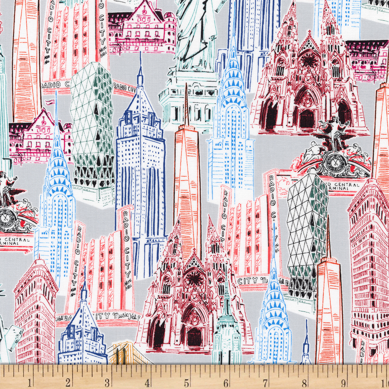 Kaufman Dream Vacation New York City Collage Bright Fabric 0469728