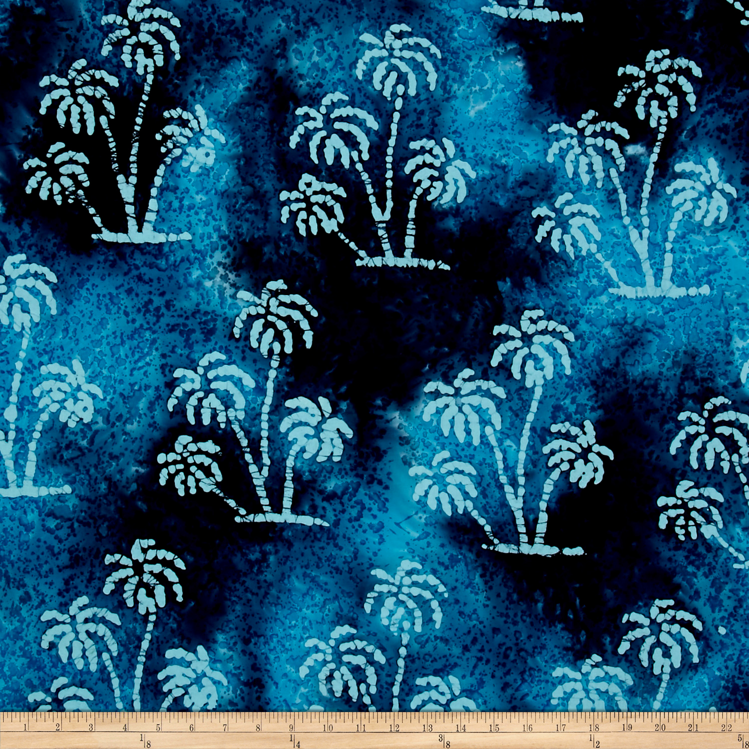 Image of Indian Batik Large Palm Large Palm Tree Blue/Multi Fabric