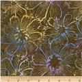 Timeless Treasures Tonga Batiks Kiwi Gerber Daisy Bronze
