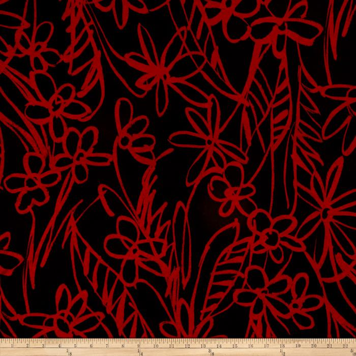Stretch ITY Knit Floral Red