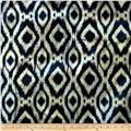 Printed Indian Batik Flannel Ikat Multi/Navy