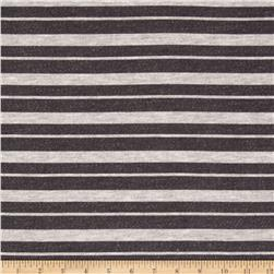 Rayon Poly French Terry Knit Stripes Grey