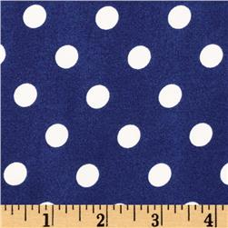 Crepe Georgette Polka Dots Royal/White Fabric
