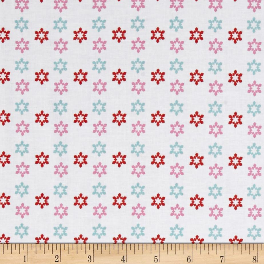 Arctic Girl Snowflake White/Pink Fabric By The Yard