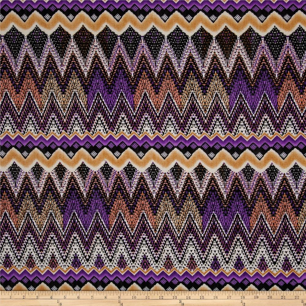Stretch ITY Jersey Knit Chevron Purple/Black
