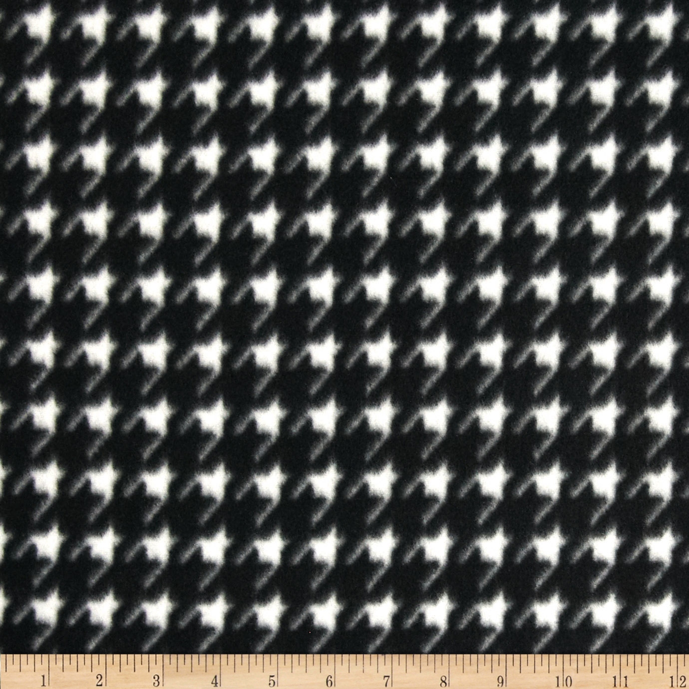 Fleece Print Small Houndstooth Black/White