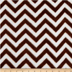 Fleece Chevron Brown/White Fabric