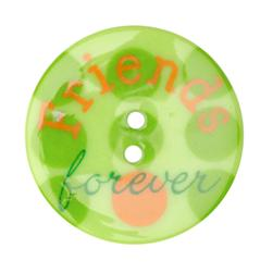 Novelty Button 1-3/8'' Friends Forever Green