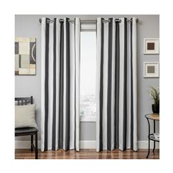 "Sunbrella 96"" Grommet Stripe Outdoor Panel Black"