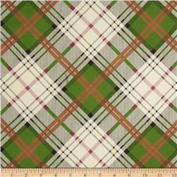 Stretch Satin Charmeuse Plaid Green/Rust