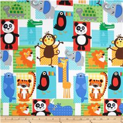 At the Zoo Animal Patchwork Blue/Red