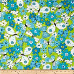 Kanvas What a Whirl Butterfly Lime Fabric