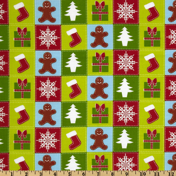 Merry Christmas Patchwork Christmas Multi Fabric