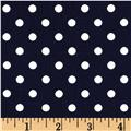Cotton Stretch Poplin Polka Dots Navy/Cream
