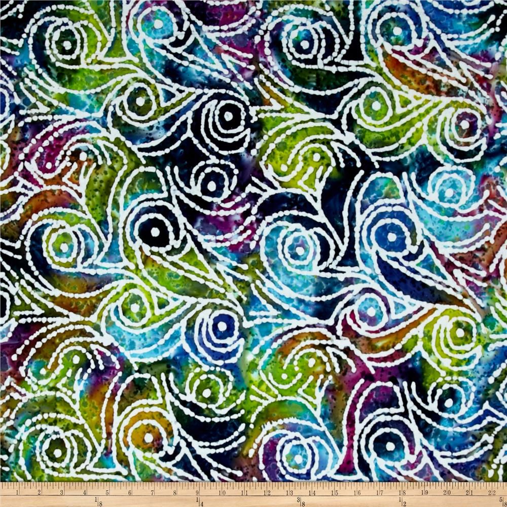 Indian Batik Cascades Scroll Blue/Green/Purple