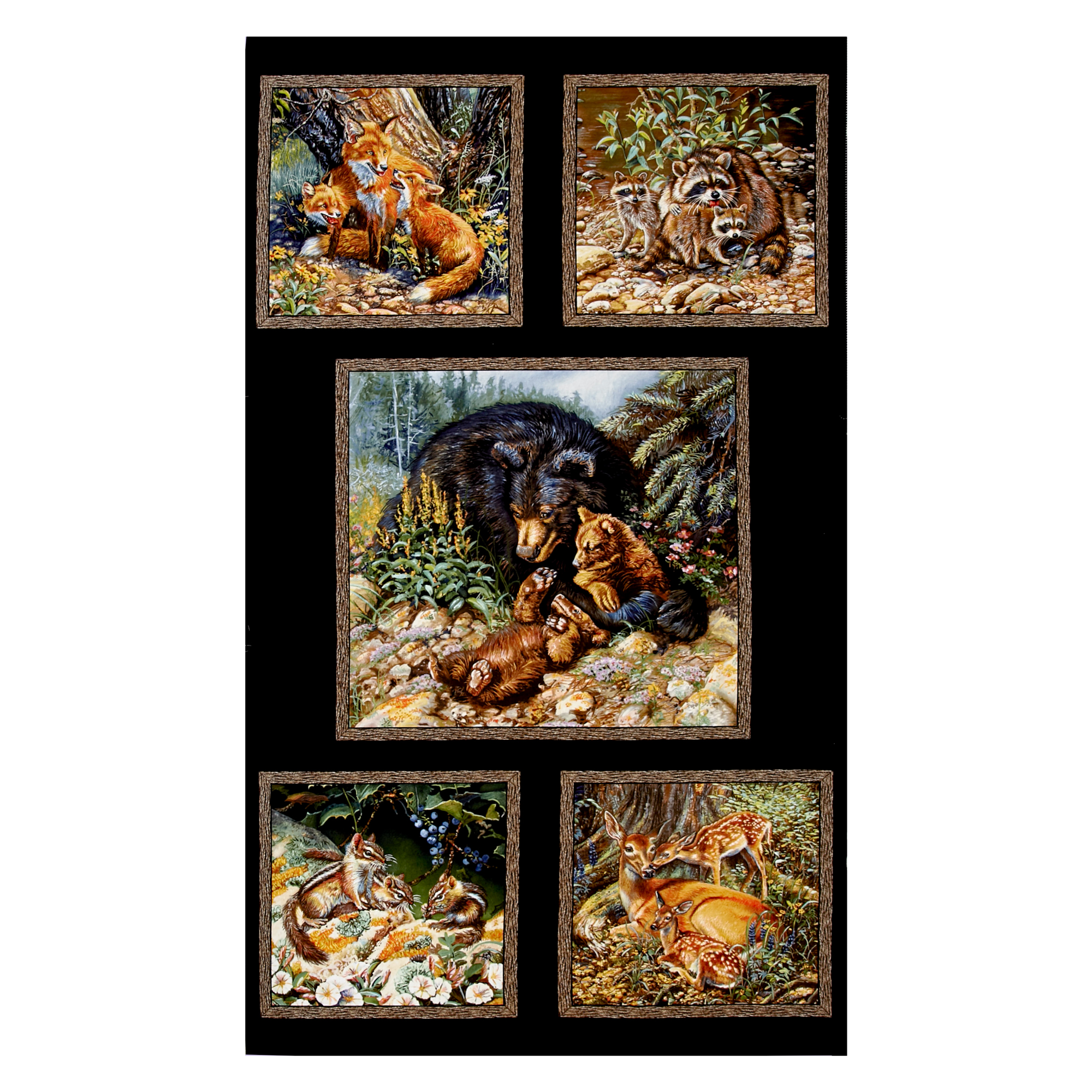 INOpets.com Anything for Pets Parents & Their Pets Woodland Families 23.5'' Panel Black Fabric