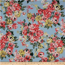 Stretch Poplin Floral Light Sky/Coral