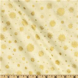 Hoffman Celebration Snowflakes Metallic Cream
