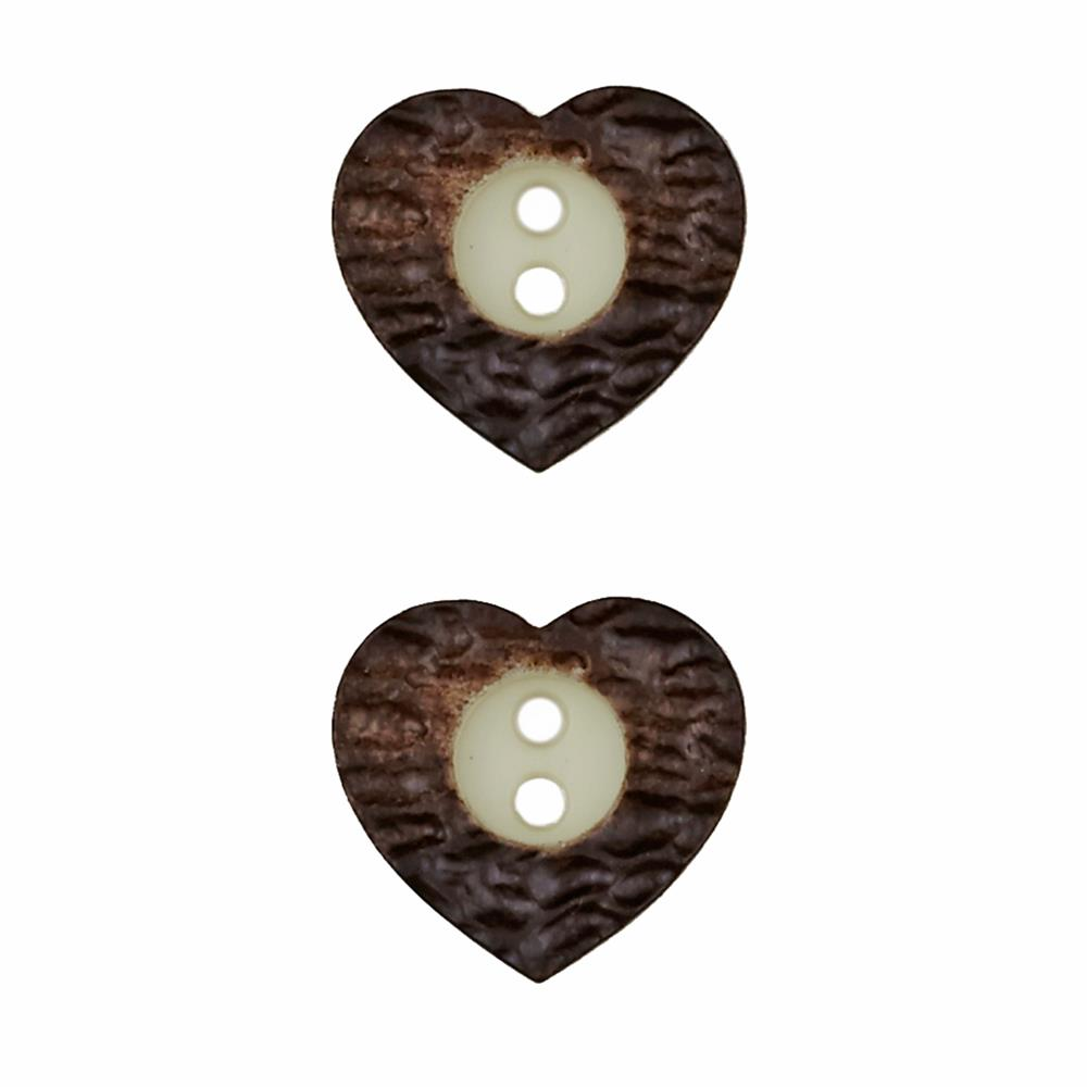 Dill Novelty Button 11/16'' Faux Metal Heart Brown
