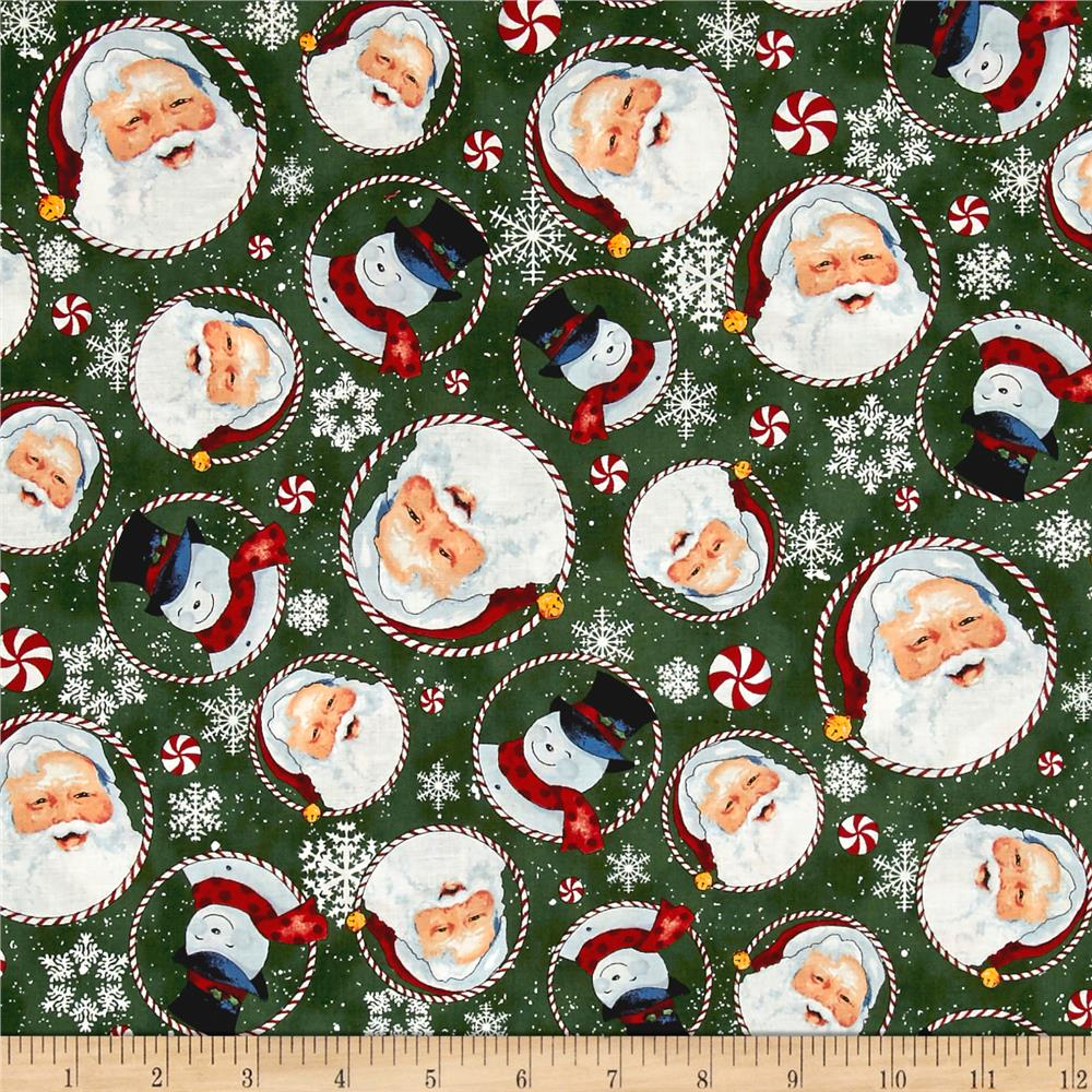 Retro Santa Tossed Santas & Snowmen Forest