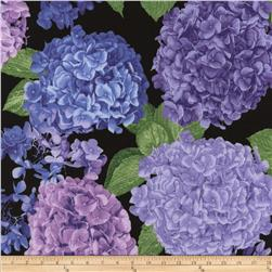 Timeless Treasures Hydrangea Large Hydrangea Toss Black
