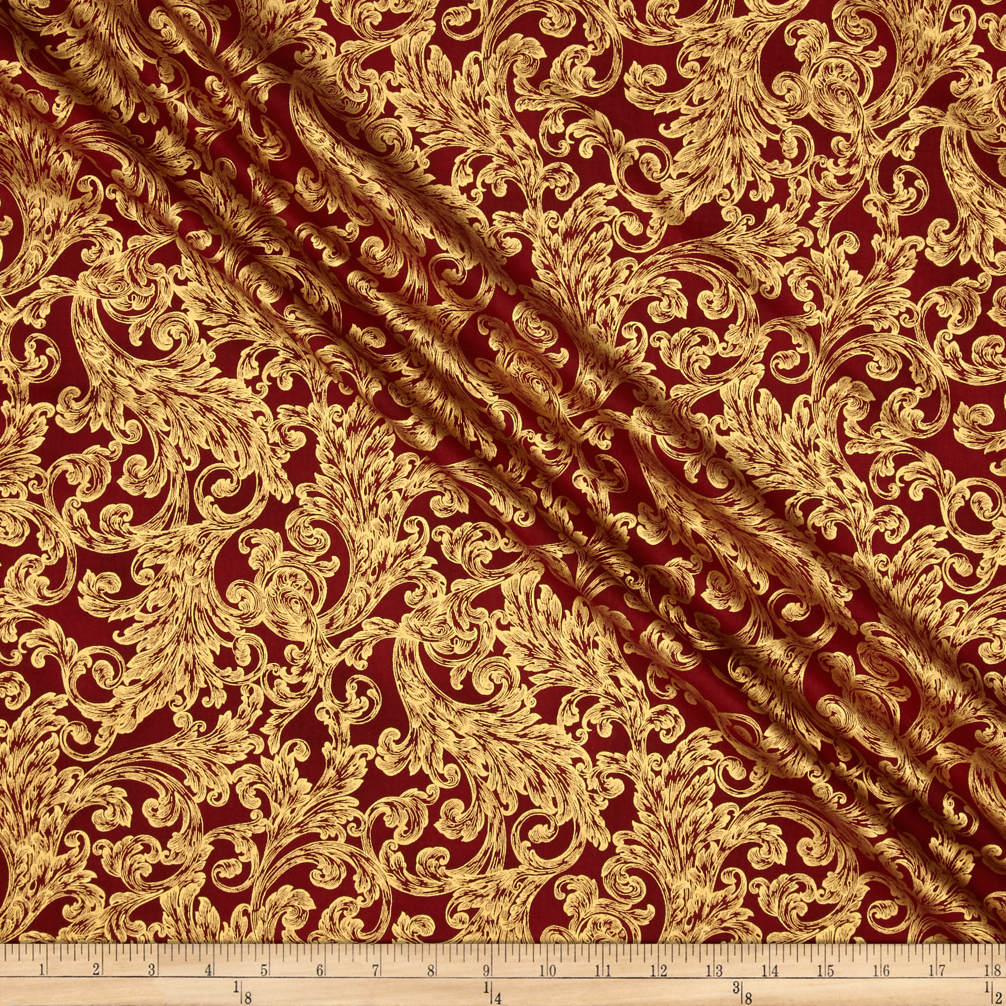 Warm Wishes Metallic Damask Scarlet/Gold Fabric by Hoffman of California in USA