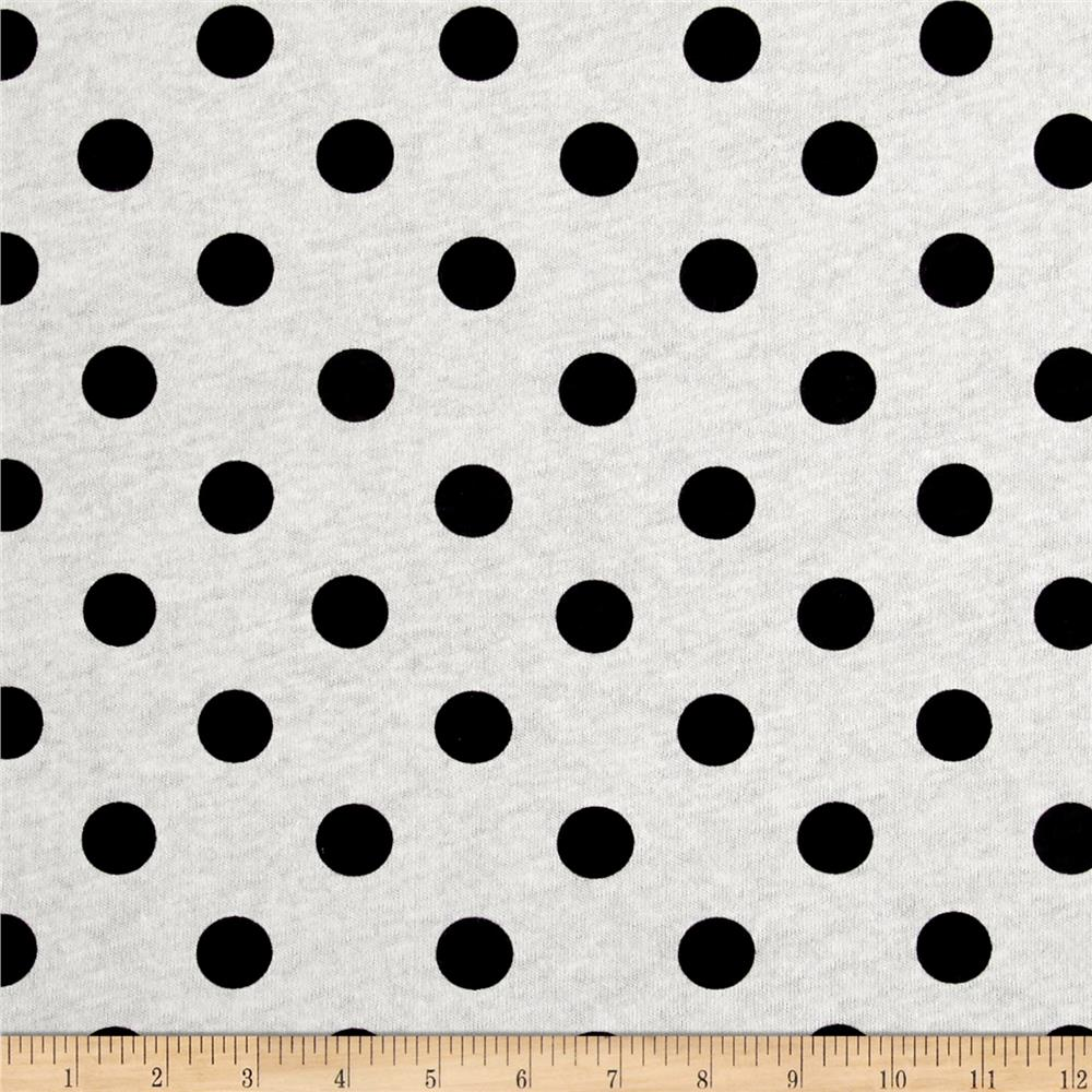 Cotton Jersey Knit Polka Dots Black Fabric By The Yard