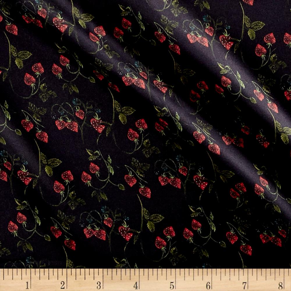 Liberty of London Belgravia Silk Charmeuse Satin Strawberry Fields Navy Blue/Green/Red