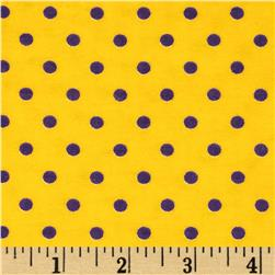 Aunt Polly's Flannel Small Dots Yellow/Purple