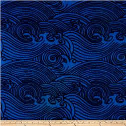 Abstract Ocean Waves Fleece Blue