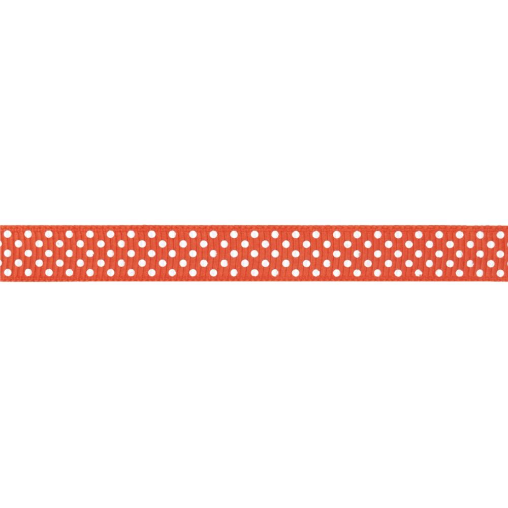 "Riley Blake 3/8"" Grosgrain Ribbon White Dots Orange"