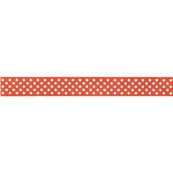 Riley Blake 3/8'' Grosgrain Ribbon White Dots Orange